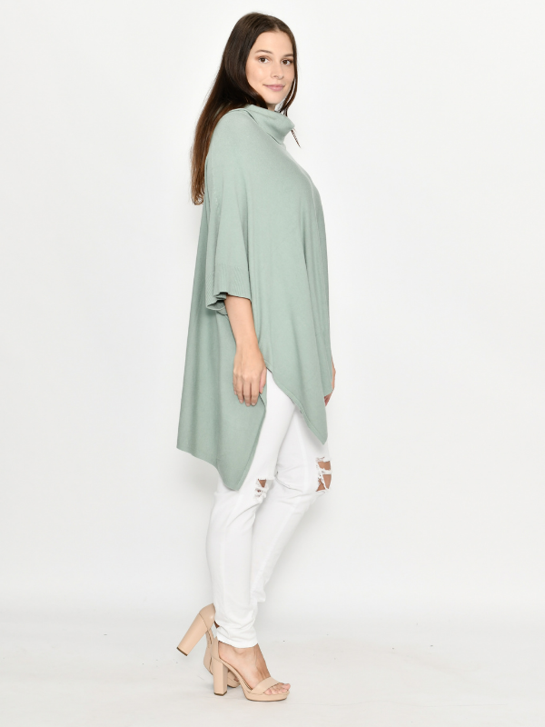 Winter Poncho Sage Side Right