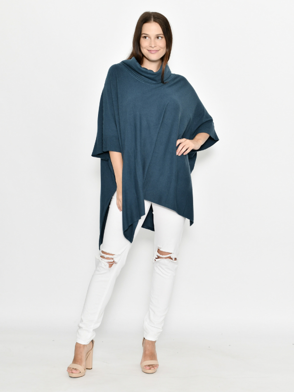 Winter Poncho Teal Full Front