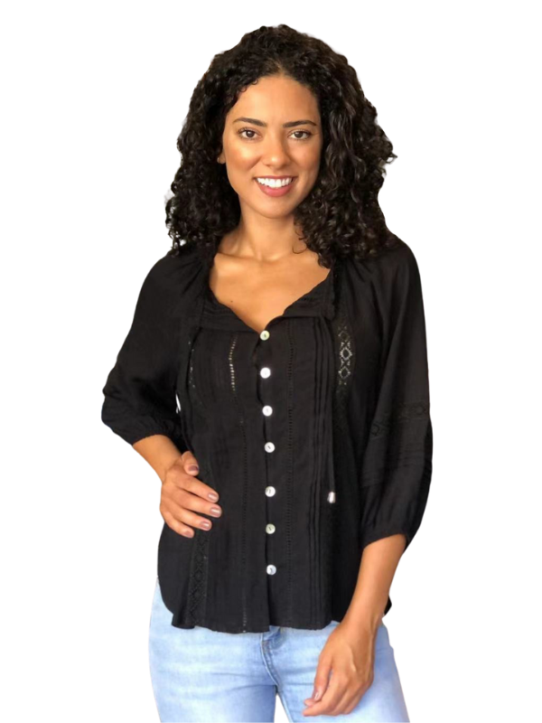 peasant top black