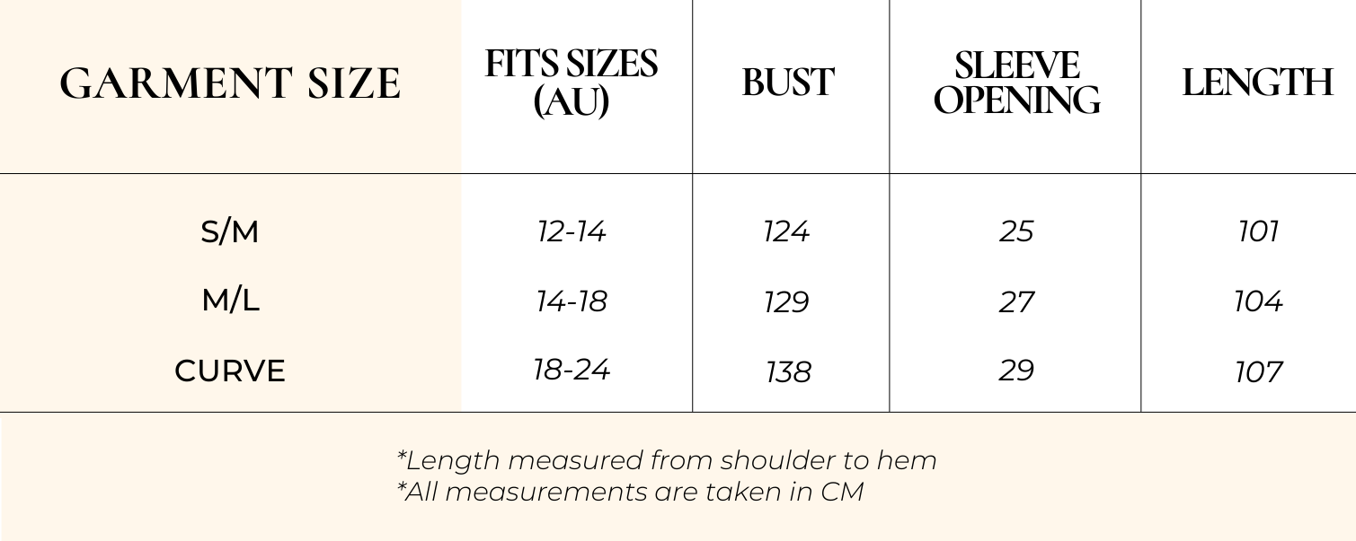 Charlie Dress Size Chart