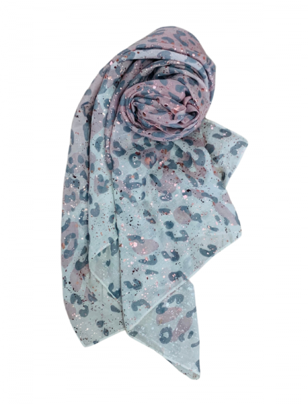Snow leopard scarf rose gold