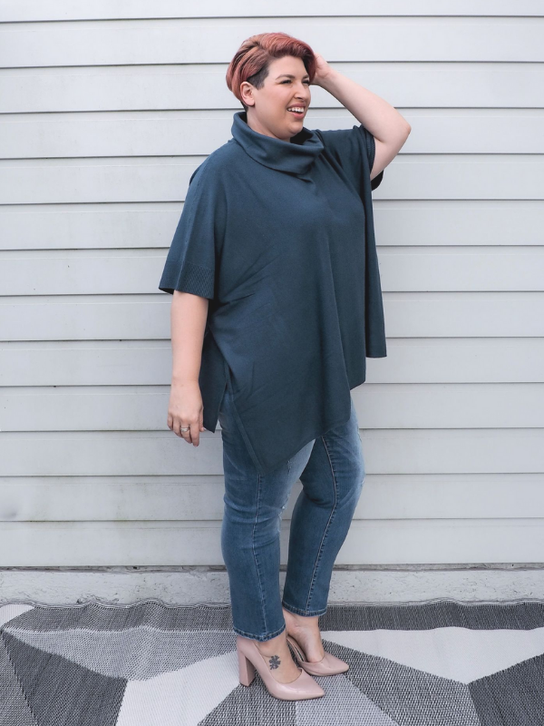 Winter Poncho Teal Side