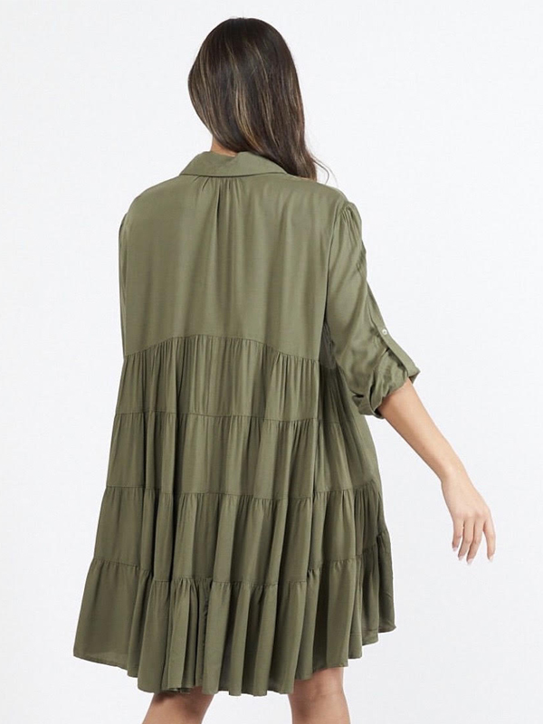 Cascade Shirt Dress Khaki Back