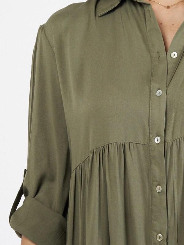 Cascade Shirt Dress Khaki Closeup