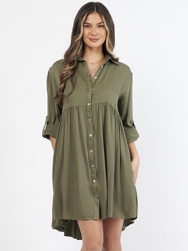 Cascade Shirt Dress Khaki Front
