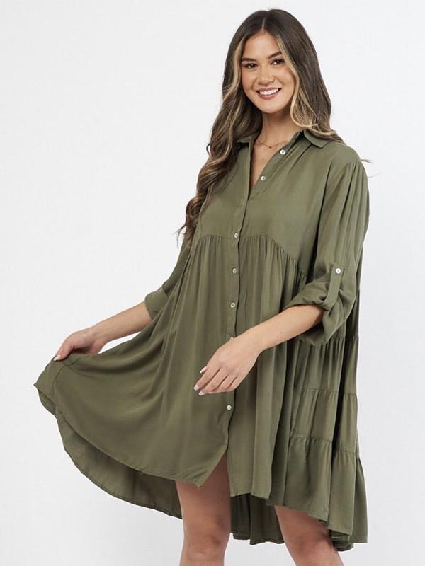 Cascade Shirt Dress Khaki