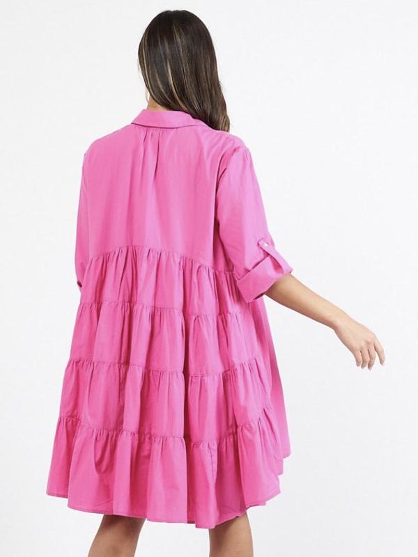 Cascade Shirt Dress Pink Back