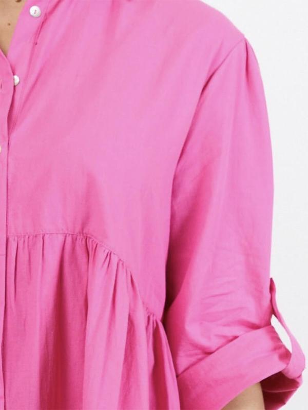 Cascade Shirt Dress Pink Closeup