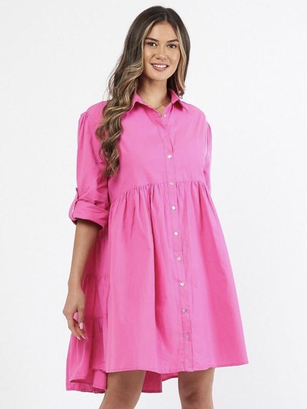 Cascade Shirt Dress Pink Front