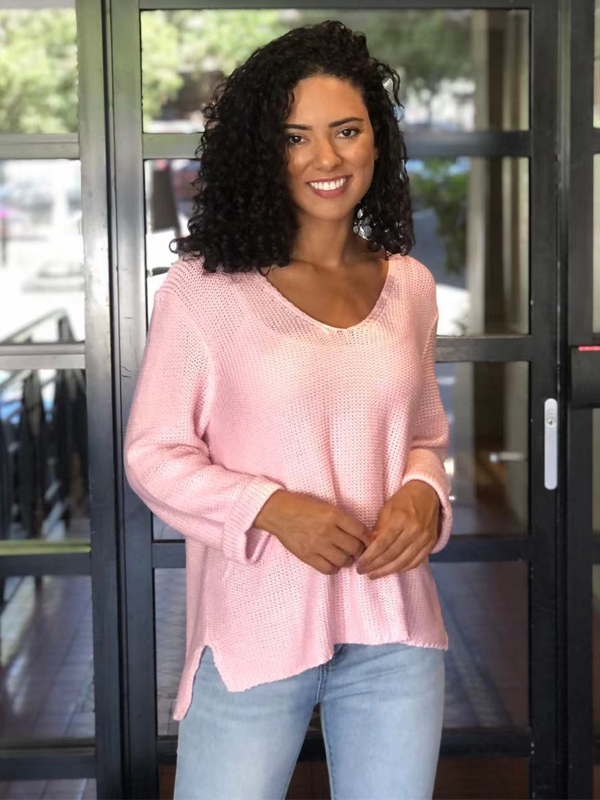 Favourite knit top pink Front