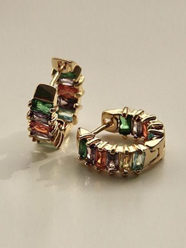 Jewelled Huggie Earrings w bg
