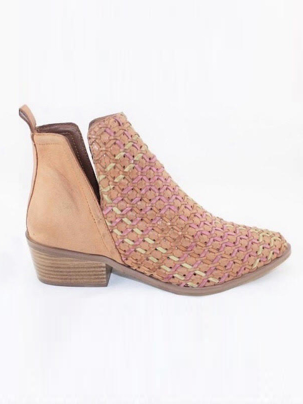 Tan ankle boots side view -