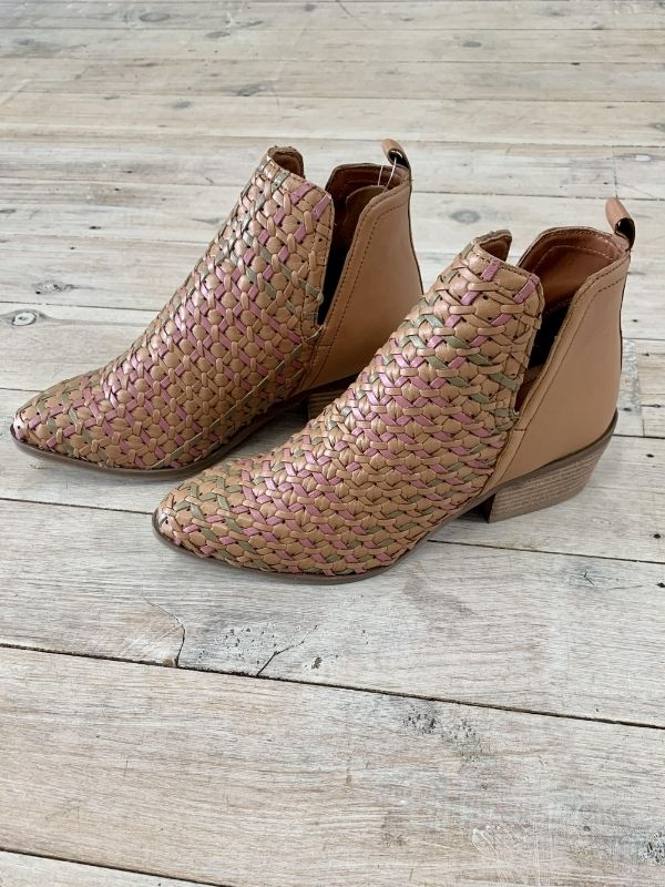 Tan ankle boots side view