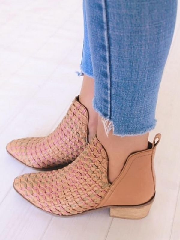 Tan ankle boots side