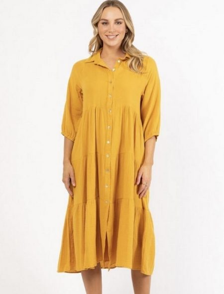 Tiered cotton dress Front