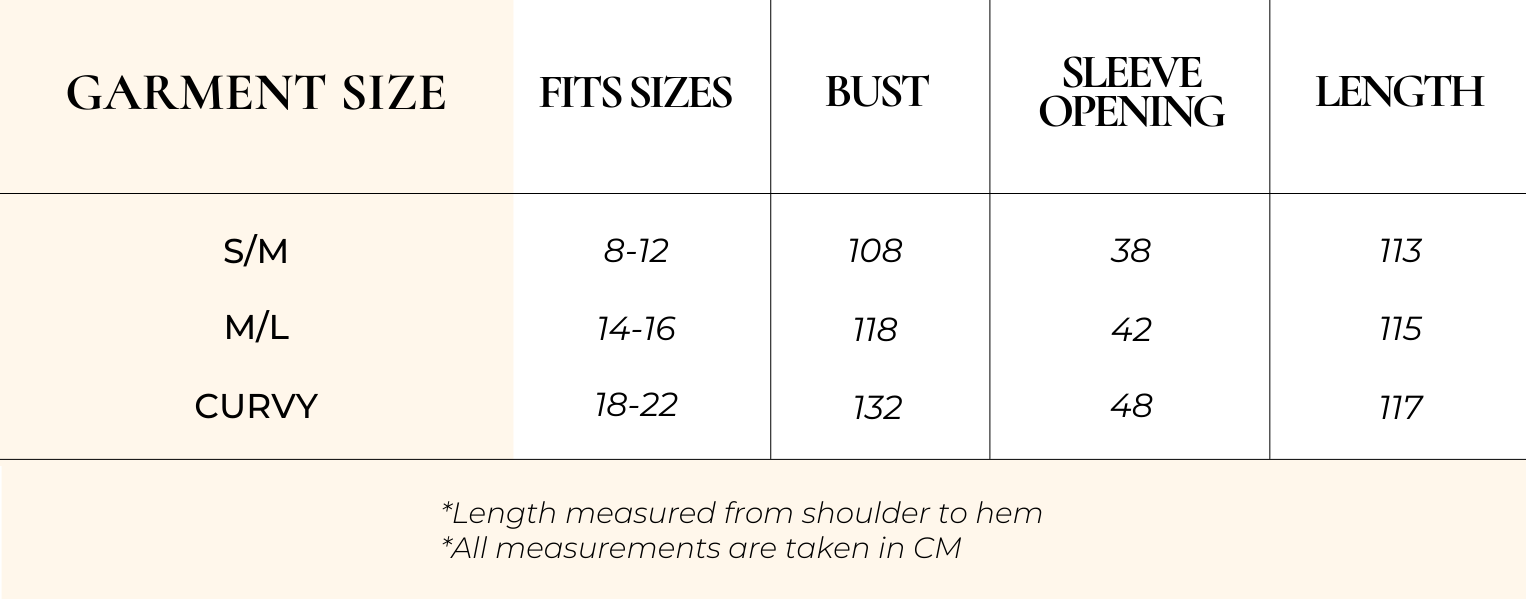 Size Chart wanetta dress