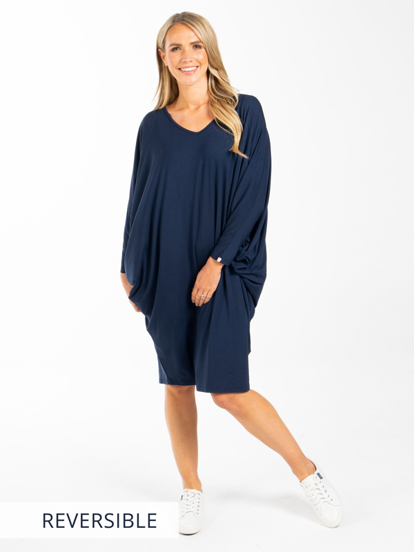 LS Miracle Dress Navy Front