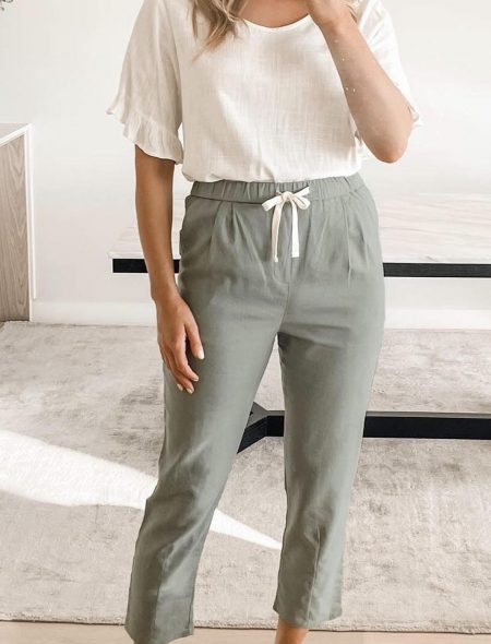 Relaxed Pants Sage Front