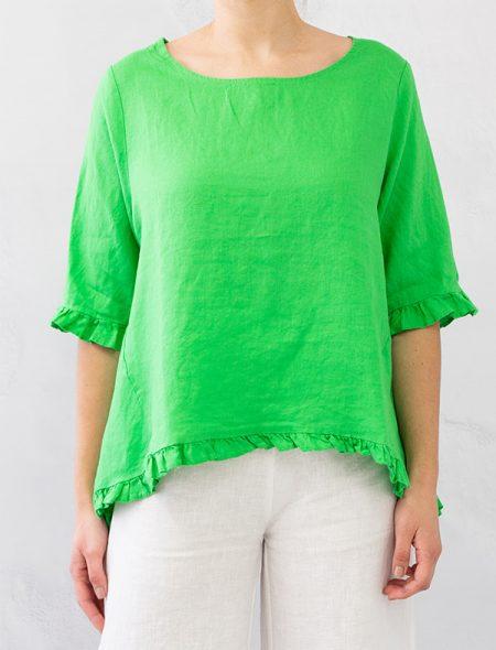 Naxos Linen Top Green