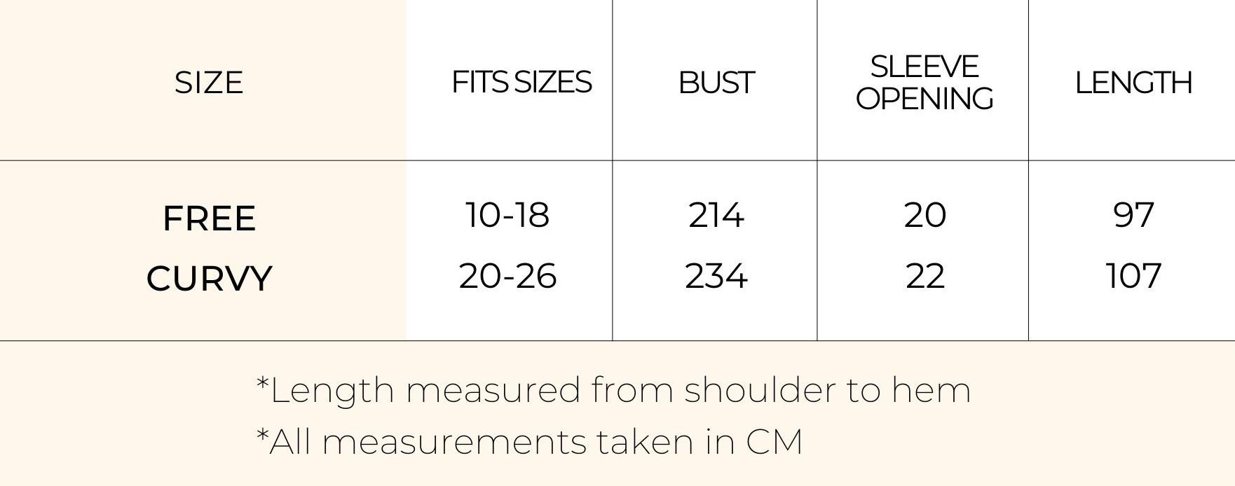 Size Chart - Long sleeve miracle dress