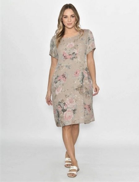 Florence linen dress beige front